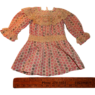Lovely Antique Doll Dress Bisque Composition French German Doll Jumeau Steiner