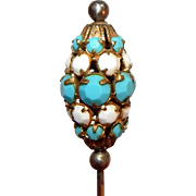 Gorgeous Antique Vintage Turquoise Blue Beaded Hatpin Hat Pin 1920's