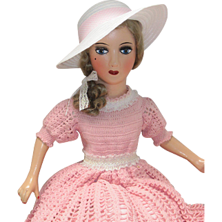 Vintage Boudoir Bed Doll Standard Composition Head Hands Feet Mohair Wig -kk
