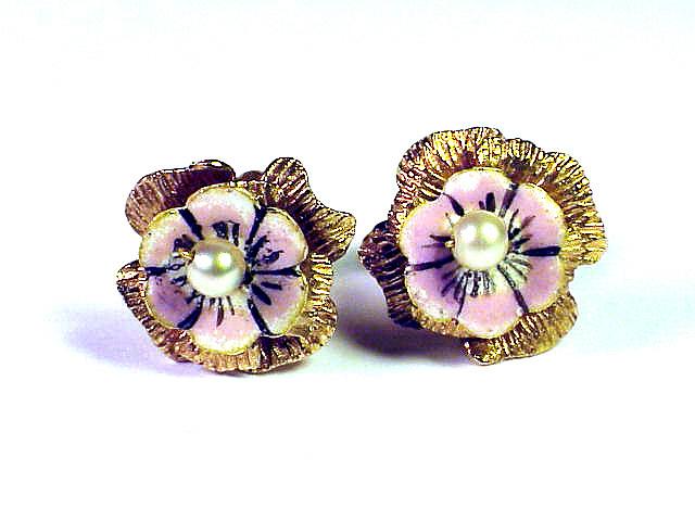 MUSEUM-WORTHY Queen Anne Enamel/22k Flower Earrings, c.1710!