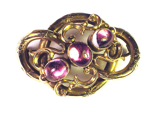 TOP QUALITY Pink Topaz/9kt Lover's Knot Brooch w/Hair Token, c.1845!