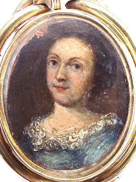 EARLY Miniature on Copper of a Lady in Victorian Locket, c.1680!