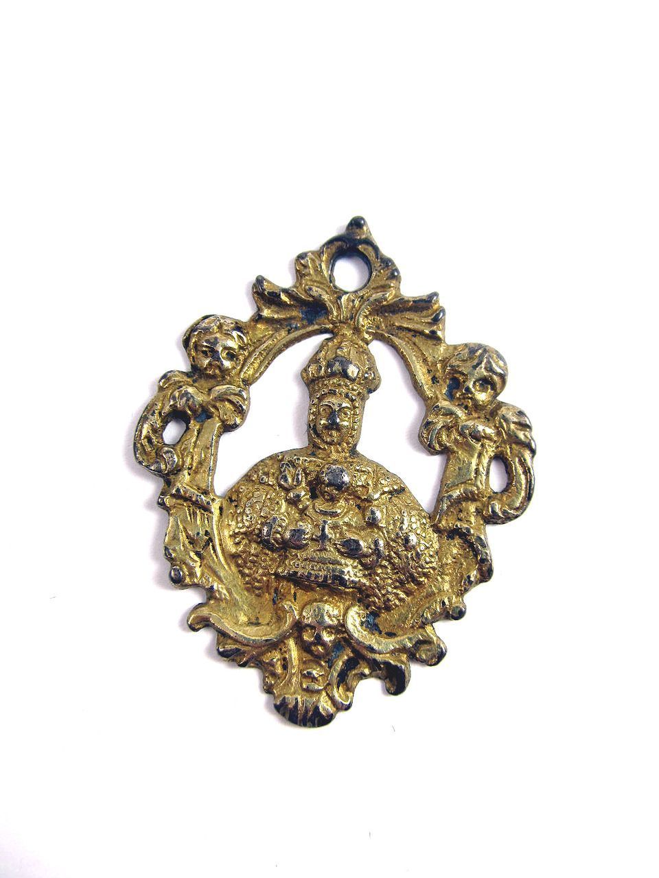 RARE Late Renaissance Silver Gilt Pendant of Mary/Jesus Enthroned, c.1600!