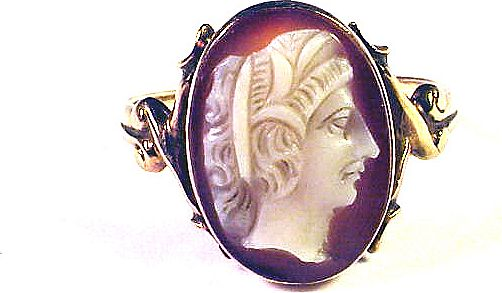 EXCELLENT Victorian Hardstone Cameo/9k Ring, Faustina, c.1875!