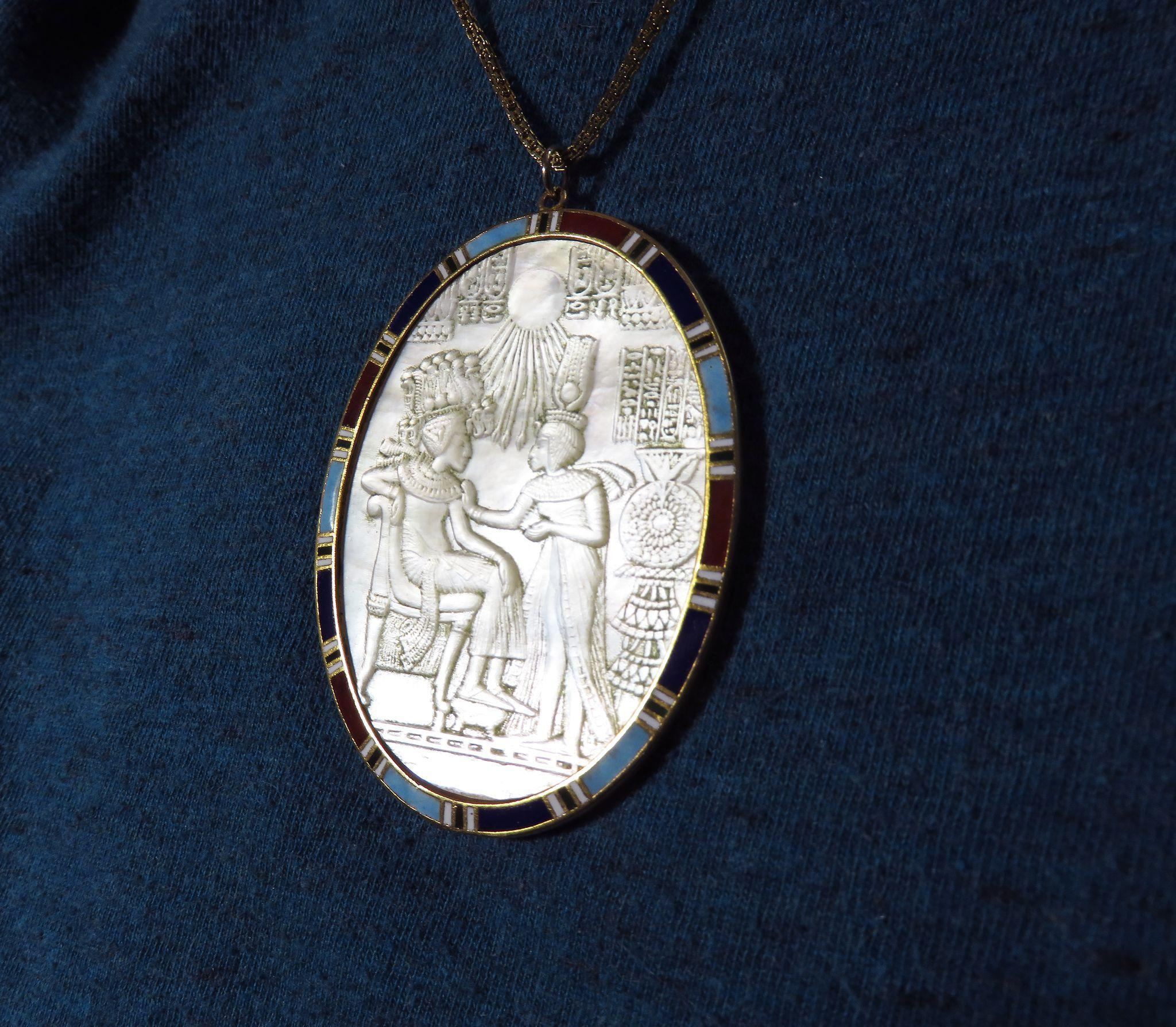 MASTERPIECE Egyptian Revival MOP Cameo in 22k Enameled Pendant Frame, c.1865!