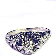 BARGAIN 20 pt. OEC Diamond Solitaire/18k Ring, c.1920!