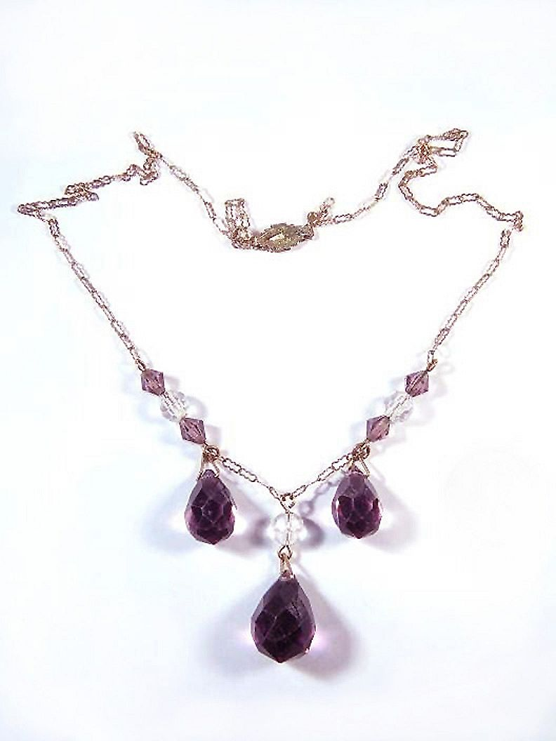 ELEGANT Edwardian Sterling and Amethyst/Rock Crystal Drop Necklace, c.1910!