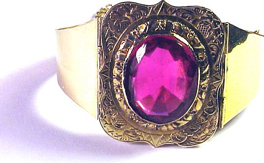 RESPLENDENT Early Victorian 14k/Ruby Paste Custom-Made Bracelet, 25.4 Grams, c.1844!