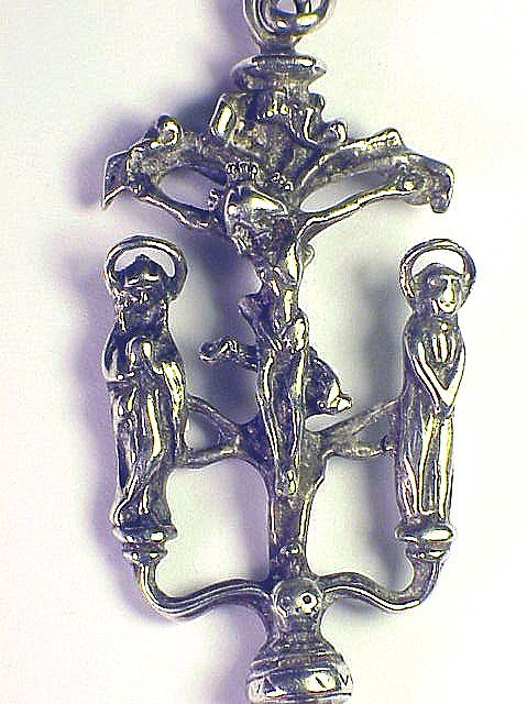 MASTERPIECE Late Medieval Sterling Devotional Pendant, Christ w/Mary and John, Referenced, c.1475 AD!
