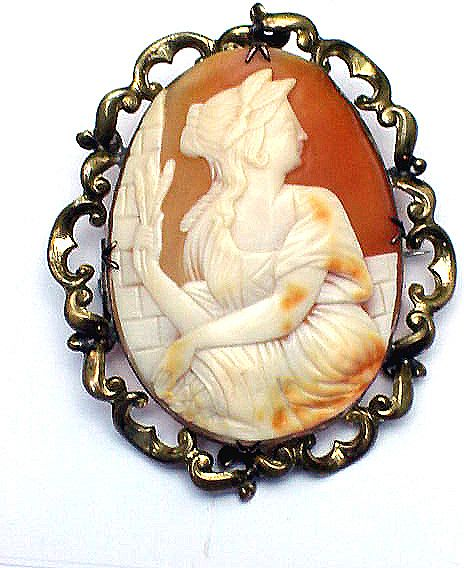 DELIGHTFUL XX-Large Victorian Cameo Brooch, Ceres, c.1855!