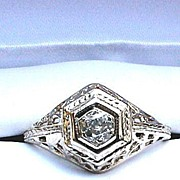ELOQUENT .30 Pt. OEC Diamond Solitaire/14k WG Ring, c.1915!