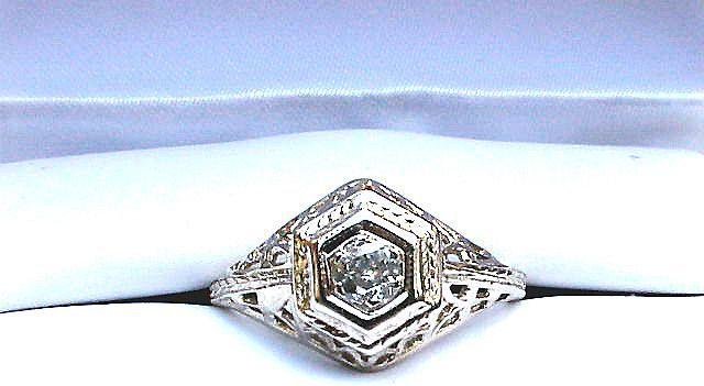 ELOQUENT .30 Pt. OEC Diamond Solitaire/14k WG Ring, c.1915!