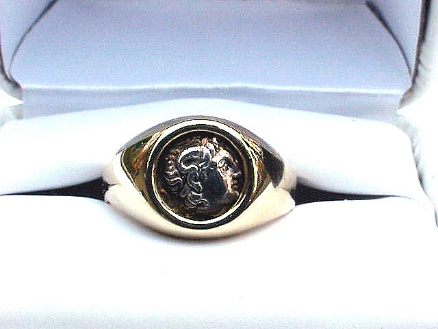 BEST Unisex 14k Ring w/Ancient Greek Silver Obol Coin of Alexander the Great, 9.1 Grams, c. 310 BCE!