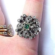 REGAL Victorian Tudor Revival Rose-Cut Diamond/Emerald Paste/15k Ring, 5.5 Grams, c.1855!