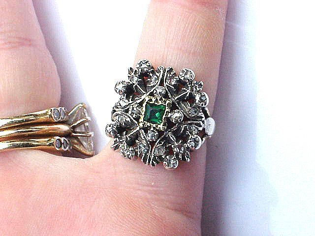 REGAL Victorian Tudor Revival Rose-Cut Diamond/Emerald Paste/15k Ring, 5.5 Grams, c.1855!