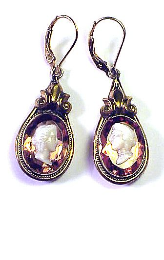 SHIMMERING Victorian Paste/Cameo/GF/14k Earrings, c.1880!