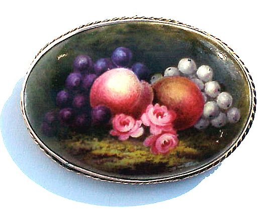 BOUNTIFUL Large Hand-Painted 9k Pendant/Brooch, Fruit & Flowers, c.1885!