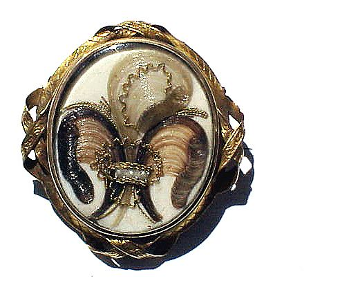 EXQUISITE Early Victorian Prince of Wales Hairwork/18k Locket Brooch, Three Subjects, c.1845!