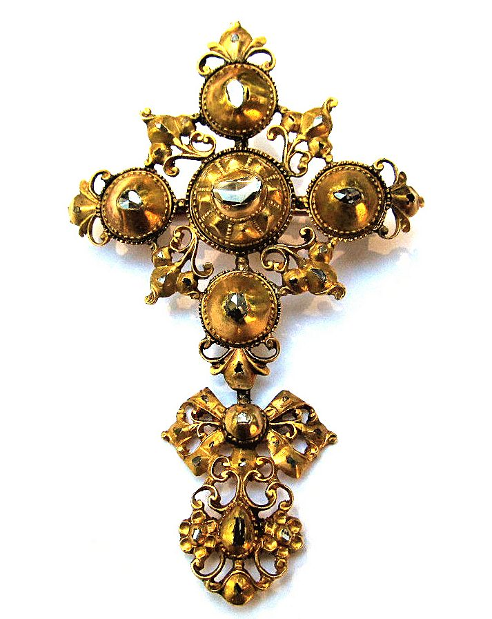 IMPORTANT Pre-Georgian 22k/Rose-Cut Diamond Cross and Bow Pendant/Brooch w/Published Reference, c.1685!