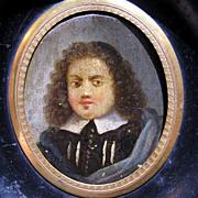 DIVINE French Oil on Copper Portrait Miniature of a Puritan or Huguenot Gentleman, c.1650!