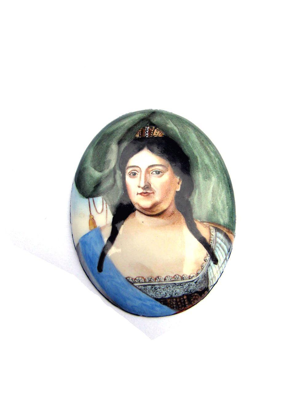 LIFETIME Enamel on Copper Portrait of Empress Anna of Russia, c.1730!