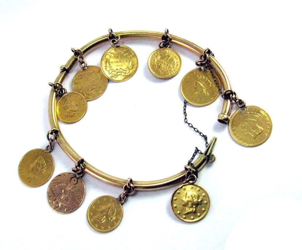 OUTSTANDING American Victorian 14k Love Token Bracelet w/9 22k Engraved Coins, 23.35 Grams, c.1882!