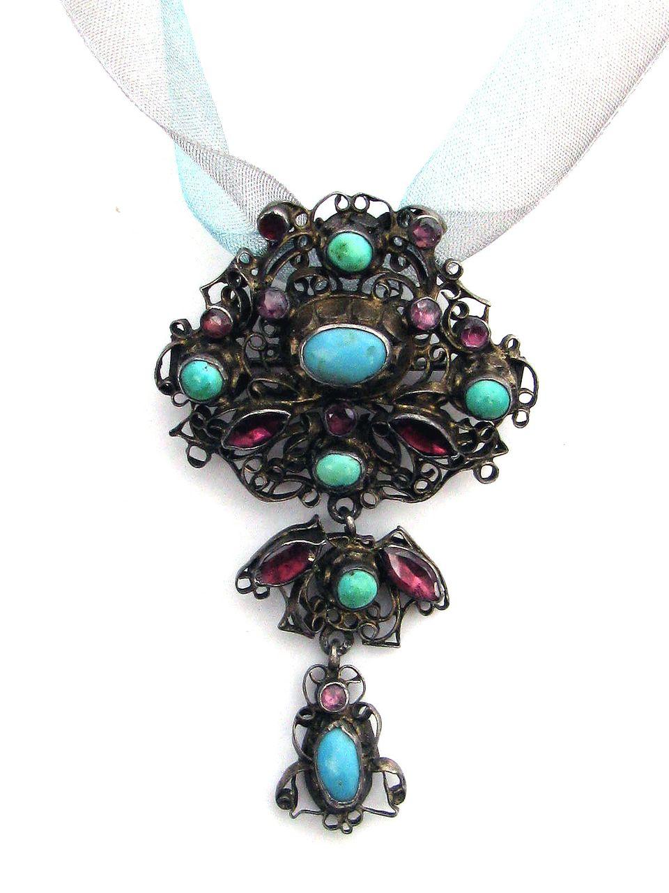 WOW! XL Georgian Austro-Hungarian Turquoise/Garnet/Silver Gilt Pendant/Brooch, c.1790!