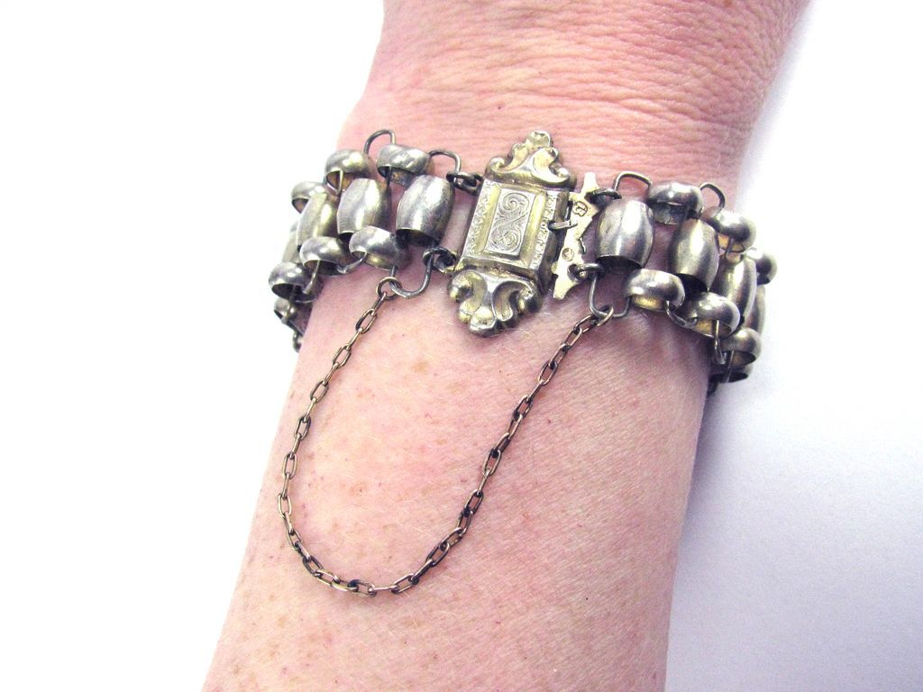STATELY Early German Provencal Silver & Silver Gilt Link Bracelet w/Hallmarks, c.1855!