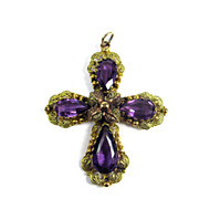 "HEAVENLY 3"" Georgian Amethyst Paste/Pinchbeck Cross Pendant, c.1830!"