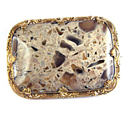 TASTIEST XL Late Georgian Pudding Stone/Pinchbeck Brooch, c.1830!