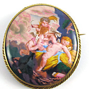 MASTERPIECE Victorian Enamel on Copper/18k Brooch, Frolicking Cupids, c.1870!