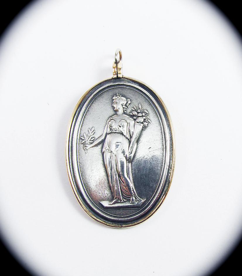 GLORIOUS Neoclassical Georgian Sterling/10k Pendant of Demeter, c.1800!