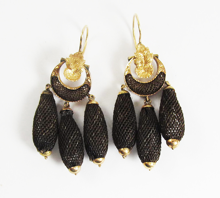 FABULOUS American Girandole Hair/14kt Earrings, Ralph Waldo Emerson Estate Provenance, c.1860!