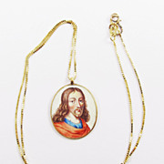 GLORIOUS Double-Sided Enamel on 22k Pendant of Jesus and the Virgin Mary on 10k Necklace, c.1650!
