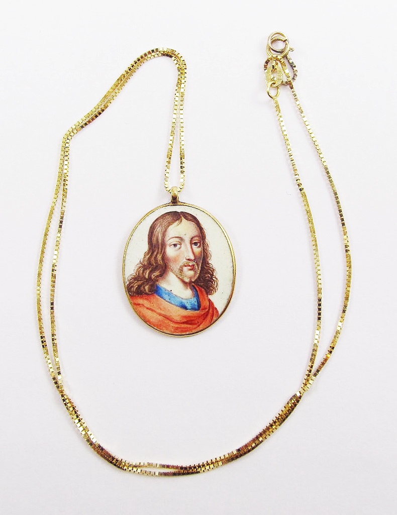GLORIOUS Double-Sided Enamel on 22k Pendant of Jesus and the Virgin Mary on 10k Necklace, c.1640!