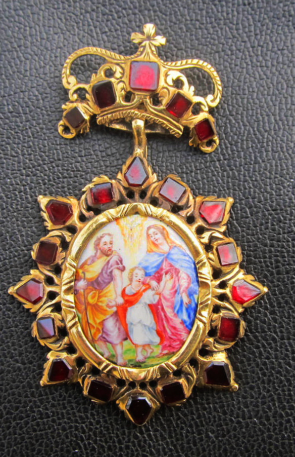 "MASTERPIECE Baroque Double-Sided Enamel on Copper/Garnet/22k ""Holy Family"" Pendant, 16.93 Grams, c.1690!"