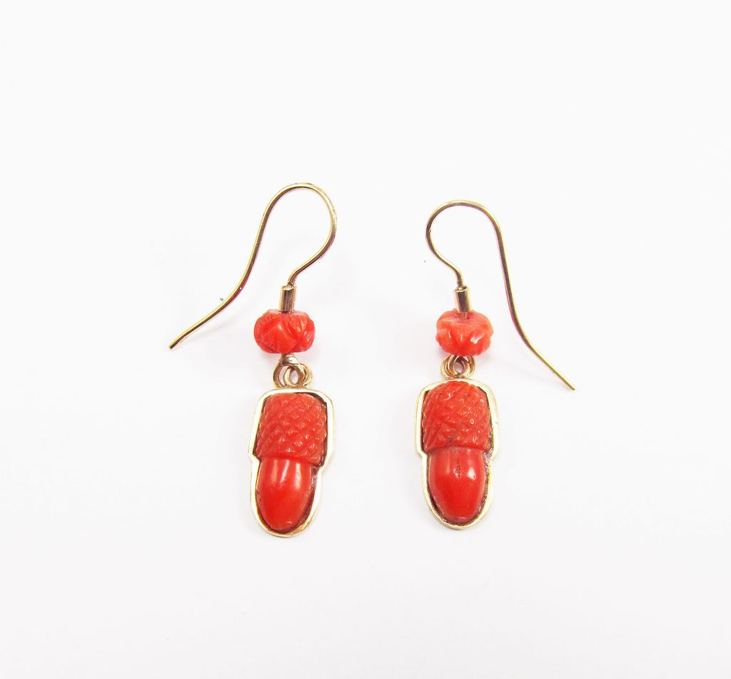 CHARMING Early Victorian Coral/12k Acorn Earrings, c.1840!