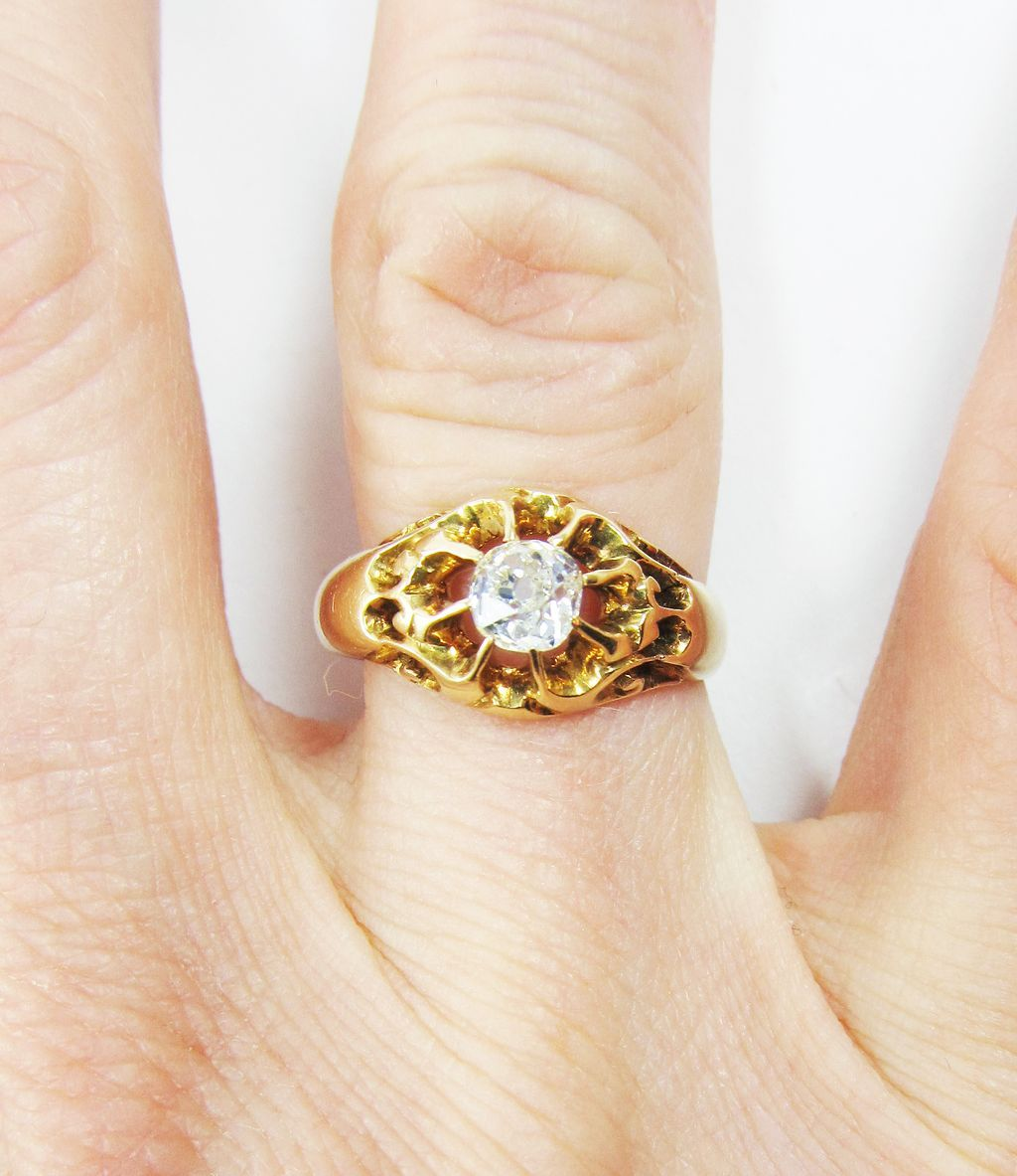 DAZZLING Victorian 1/2 Ct. OMC Diamond Solitaire/15k Ring, c.1880!