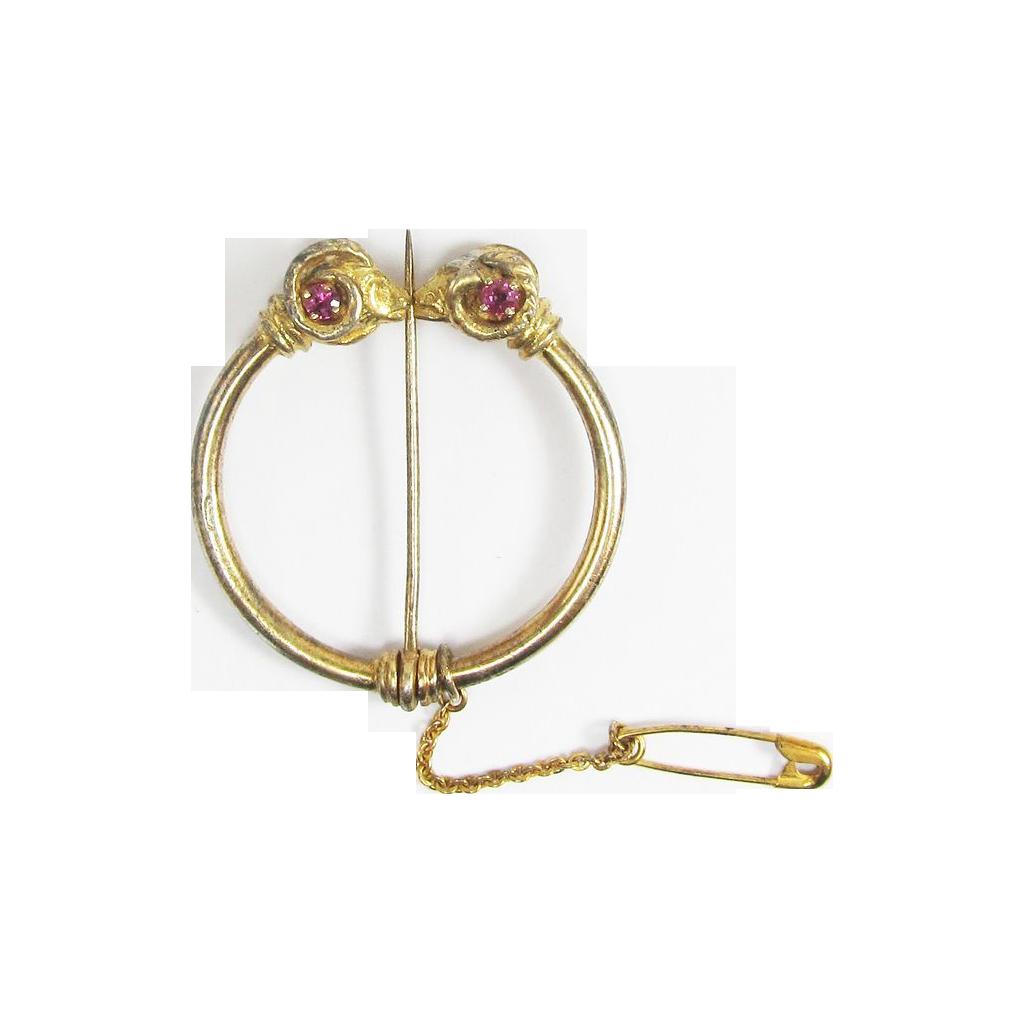 STUNNING Victorian Etruscan Revival Silver Gilt/Diamond/Ruby Ram's Head's Penannular Brooch, c.1865!