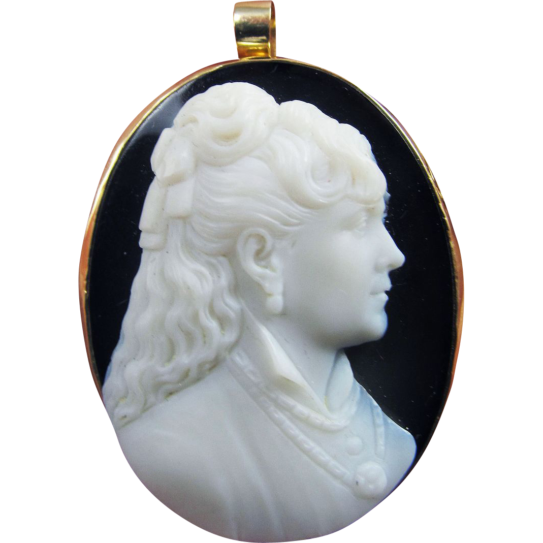 MASTERPIECE Hardstone Portrait Cameo of a Beautiful Teenage Girl in 14k Pendant/Brooch, c.1875!