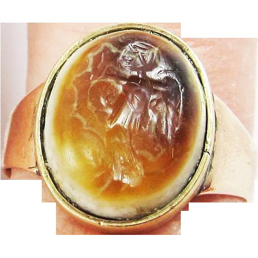 SO RARE Ancient Roman Banded Agate Intaglio of Fortuna Set in Unisex Georgian 9k Ring, c.100AD!