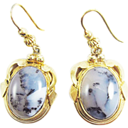 GORGEOUS 20.2 Ct. TW Mid-Victorian Picture Agate/Silver Gilt Earrings, c.1855!