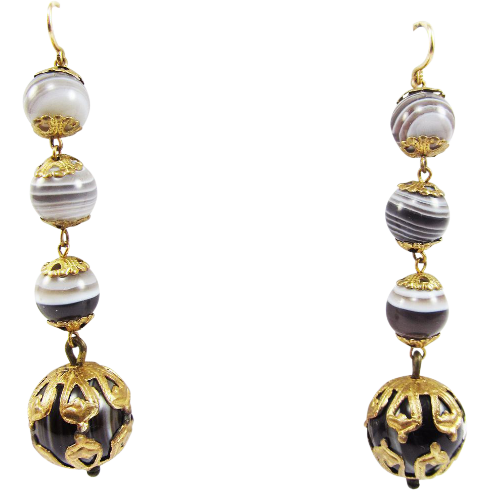 "SHOW-STOPPING 3 1/8"" Victorian Banded Agate/10k Drop Earrings, c.1855!"