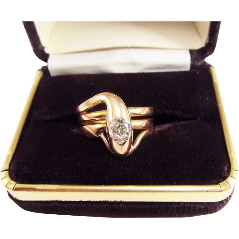 MONUMENTAL Unisex Victorian .85 Ct. OMC Diamond/18k Serpent Ring, 10.04 Grams, c.1875!