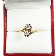 "DAZZLING Edwardian .58 Ct. TW Transitional Cut Diamond/10k ""Toi Et Moi"" Ring, c.1905!"