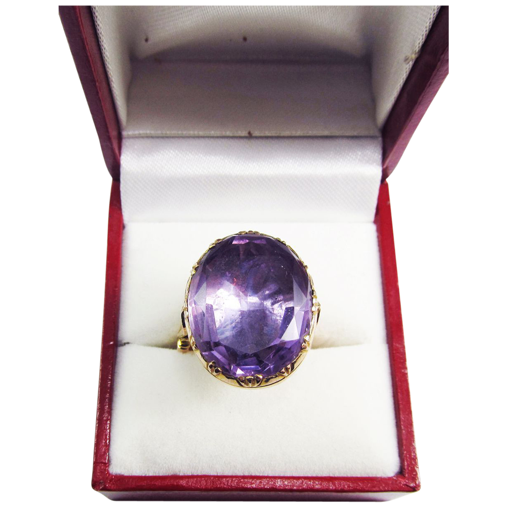 SO REGAL Regency 15.9 Ct. Amethyst Solitaire/9kt Ring, 10.64 Grams, c.1805!