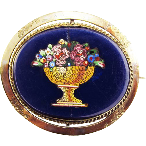 ELOQUENT Micro Mosaic Flower Theorem Swivel Silver Gilt Brooch w/Tintype of Gentleman on Reverse, c.1840/60!