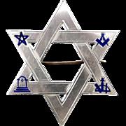 SUPERB US-MADE Scottish Rite Masonic Sterling/Cobalt Enamel Star of David Brooch, c.1865!