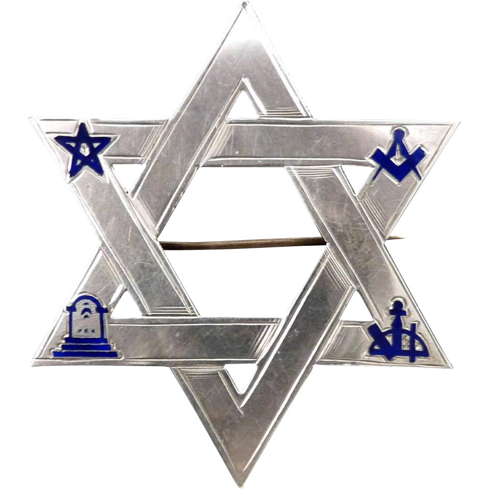 SUPERB US-MADE Scottish Rite Masonic Sterling/Cobalt Enamel Star of David Brooch, c.1865!