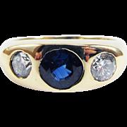 UNISEX 1.84 Ct. TW Art Deco Ceylon Sapphire/Diamond/14k Trilogy Ring, 4.52 Grams, c.1930!